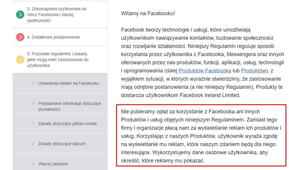 polityka prywatności facebooka